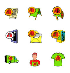 ali express shop icons set cartoon style vector image vector image