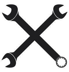 crossed wrenches silhouette vector image