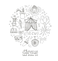 Hand drawn sketch circus icons vector image