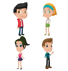 Kids Cute Cartoon Character Set vector image