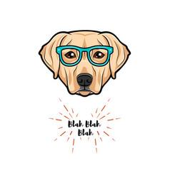 labrador dog wearing glasses on white background vector image