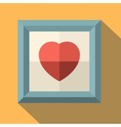 Picture frame with red heart vector image vector image