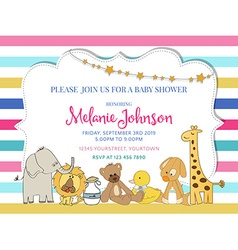 Pretty frame on color lines for baby shower vector image vector image