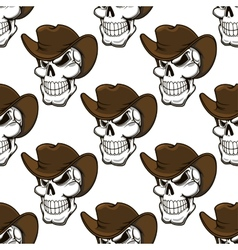 Skull in a stetson seamless pattern vector image vector image