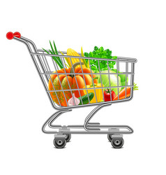 vegetables in supermarket cart isolated vector image