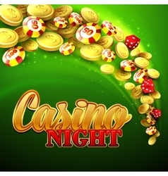 Casino background with chips craps and money vector image