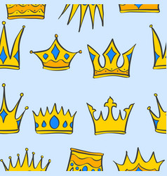 collection stock crown pattern style vector image