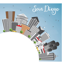San diego skyline with gray buildings blue sky vector