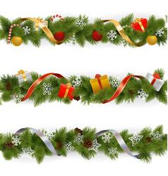 Christmas Border Set 3 vector image vector image