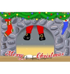 Christmas card with fireplace vector image vector image