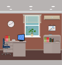 office room interior design inside workplace with vector image vector image