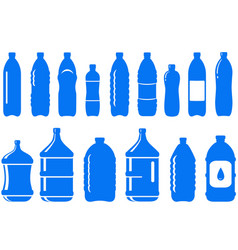 Set of isolated water bottle icon vector