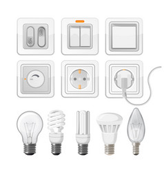set of light saving bulbs electric switches vector image vector image