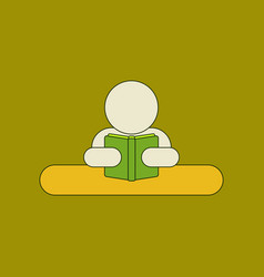 Flat icon thin lines man reading book vector