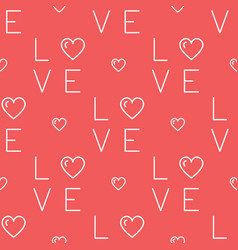 love pattern seamless text love and hearts on a vector image vector image