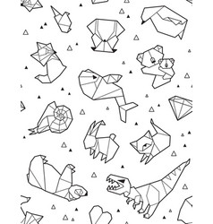 origami pattern background with outline animals vector image