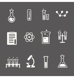 Set of white science and research icons on a grey vector image vector image