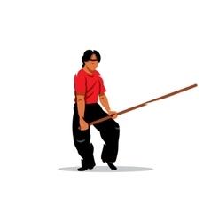 Wing Chun kung fu Man with a stick Cartoon vector image vector image
