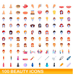 100 beauty icons set cartoon style vector image