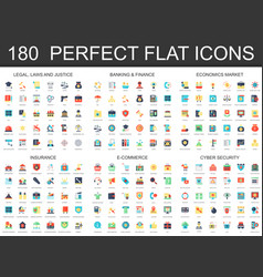 180 modern flat icon set of legal law justice vector