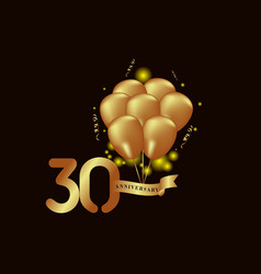 30 year anniversary gold balloon template design vector