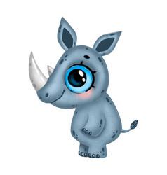 A cute cartoon rhino with big eyes vector