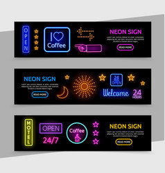 advertising neon signs horizontal banners vector image