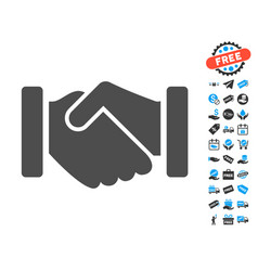 Agreement handshake flat icon with free bonus vector