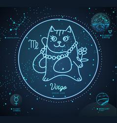 Astrology neon virgo zodiac sign funny cat vector