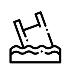 Bag junk flotsam in ocean thin line icon vector