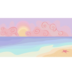 beach and sunset with pastel colors vector image