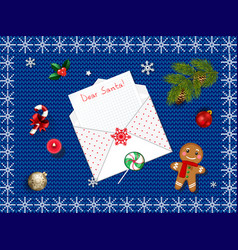 beautiful christmas background with open envelope vector image