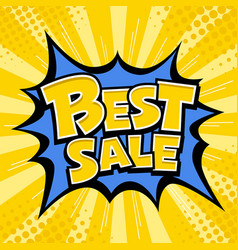 Best sale banner yellow message blue star vector