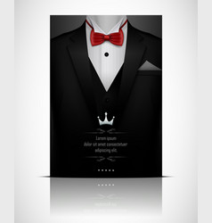 Black suit and tuxedo with red bow tie vector