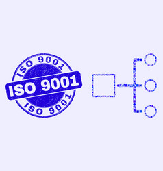 Blue grunge iso 9001 stamp seal and hierarchy vector