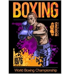 Boxing champ poster with boxer on black background vector