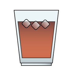 Brown beverage with ice icon image vector