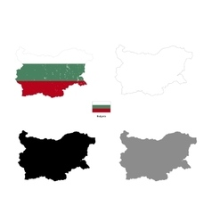 bulgaria country black silhouette and with flag vector image