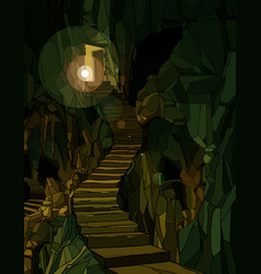 Cartoon dungeon with stone stairs in green vector