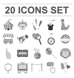 Circus and attributes monochrome icons in set vector