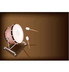 Classical Bass Drum on Dark Brown Background vector image vector image