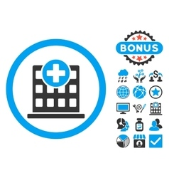 Clinic Flat Icon with Bonus vector image