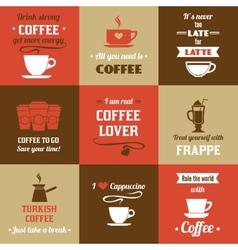 Coffee mini poster set vector