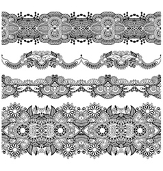 collection of seamless ornamental floral stripes vector image