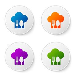 Color chef hat with fork and spoon icon isolated vector