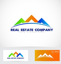 Colored house real estate logo vector