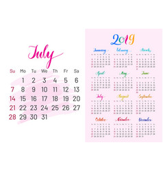 Colorful planner 2019 july separately vector