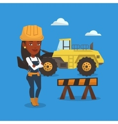 Confident builder with arms crossed vector