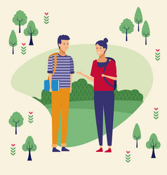 couple at park vector image
