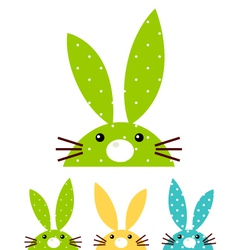Cute patterned bunny set isolated on white vector